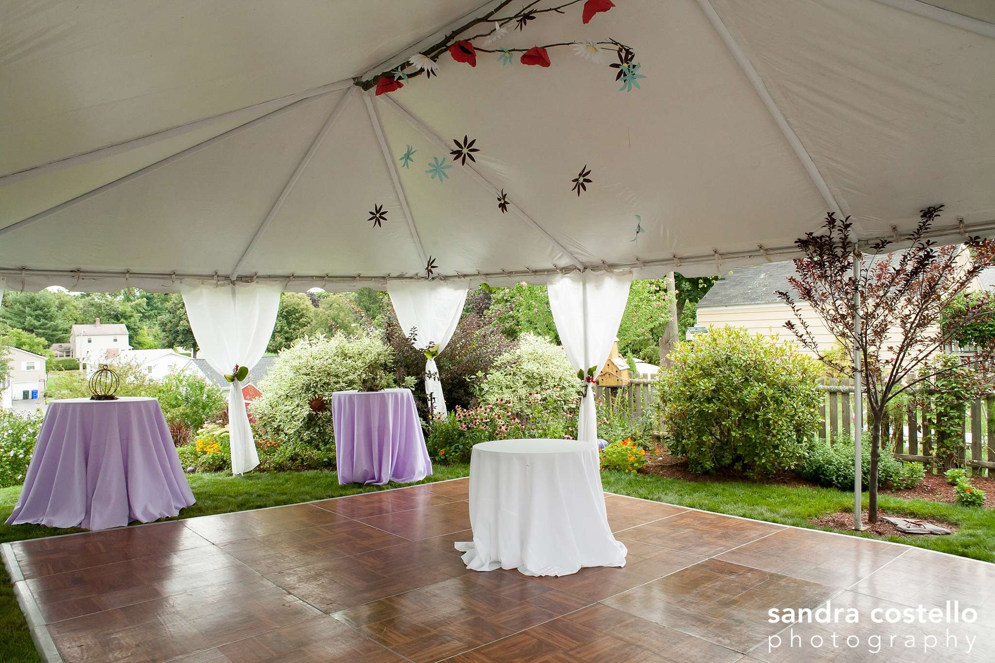 We covered all of the legs in white leg skirts and installed elegant string lights around the perimeter of the tent. The brides hung homemade paper flowers ... & Michaels Party Rentals » Blog Archive » Perfect Garden Wedding