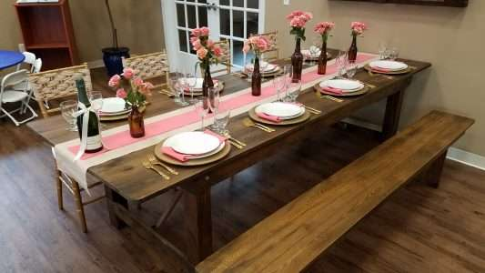 Farm table and bench rentals