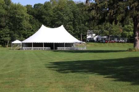 60x70 century tent setup for WMA's convocation in wilbraham ma