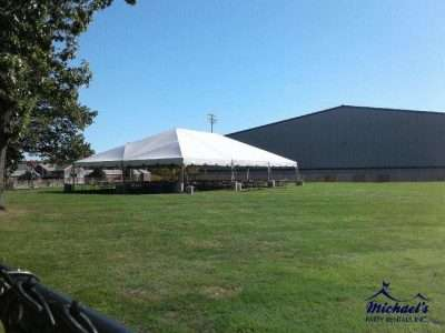 40x60 frame tent setup at Springfield College for Homecoming