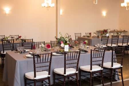 Tuscan tables and chiavari chairs setup at the Boylston Room. Styled by Fox and Lantern