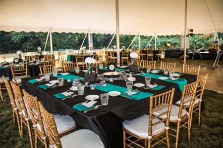 Chiavari Chair and Party Rentals: Tents setup for Fabulous Fifty Fundraiser at Berkshire Hills Music Academy