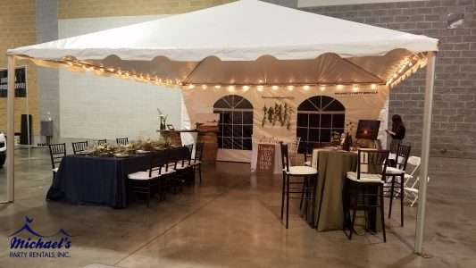 Chiavari Chair and Party Rentals: Woodsy inspired booth at the Western New England Bridal Show