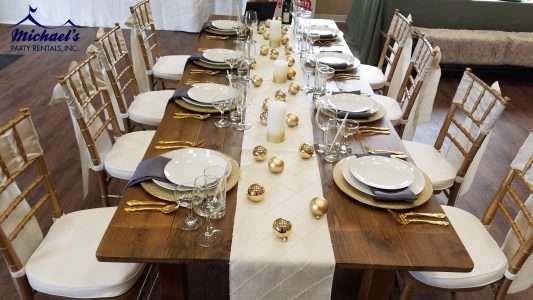 Metallic holiday tablescape rentals MA