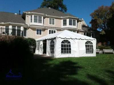 20x40 frame tent setup at Springfield College for Homecoming
