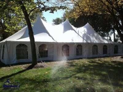 60x80 Century tent setup at Springfield College for Homecoming