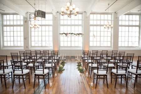 Chaivari chairs for a wedding ceremony at the Boylston Room. Styled by Fox and Lantern