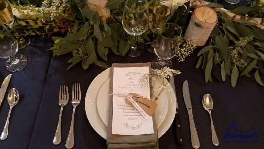 Woodsy inspired tablescape at the Western New England Bridal Show