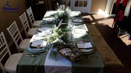 Woodland holiday tablescape rentals MA